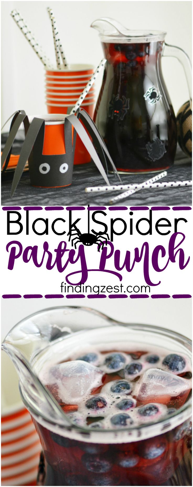 Black Spider Party Punch for Halloween: Serve up this easy Halloween punch in dressed up cups and pitchers to continue the spider theme!