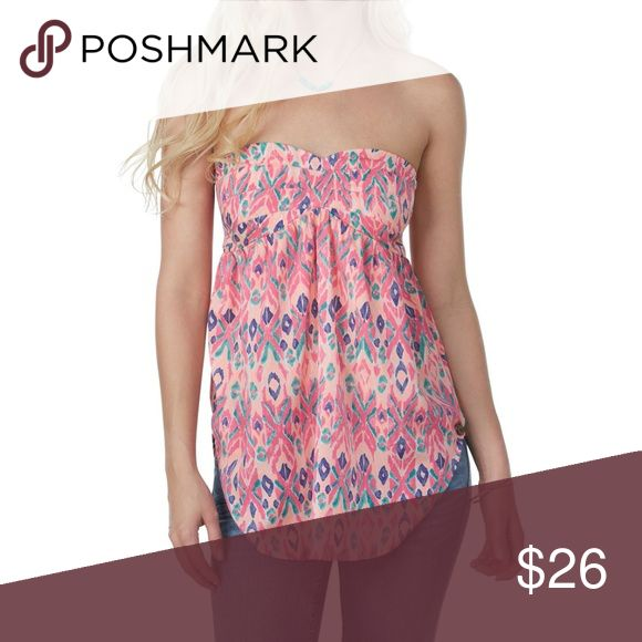 ROXY First Impression strapless top pink aztec NEW ROXY First Impression in tropical pink ethnic stripe print strapless top with elastic smocking at back. Pink geometric print. NWOT  MEASUREMENTS: Flat bust: 15 in Flat waist: 14 in Length: 18 in Roxy Tops