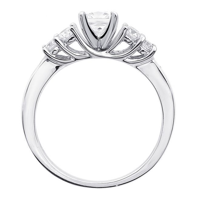 Princess Cut Diamond Engagement Ring with 4 Round Side Stones