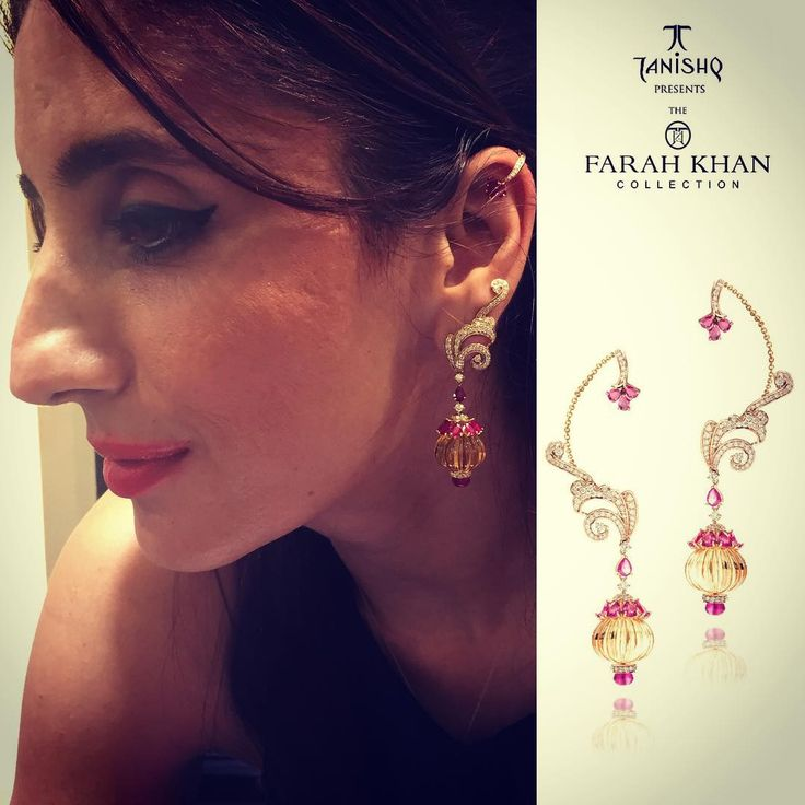 """""""Super customer interaction in Mumbai for #theFarahKhanCollection for #Tanishq #TanishqxFarahKhan . Posing here in my Kanouti and Kaan inspired Ear cuffs.…"""""""