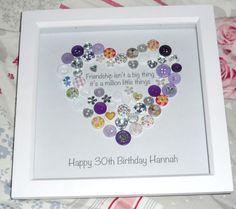 Heart Friend Personalised Button Print - Friendship Isn't a Big Thing Quote - Birthday Wedding