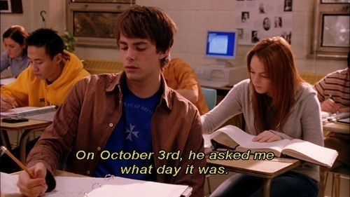 "And when Aaron asked Cady the most important question in the world. | 33 ""Mean Girls"" Quotes Guaranteed To Make You Laugh Every Time"