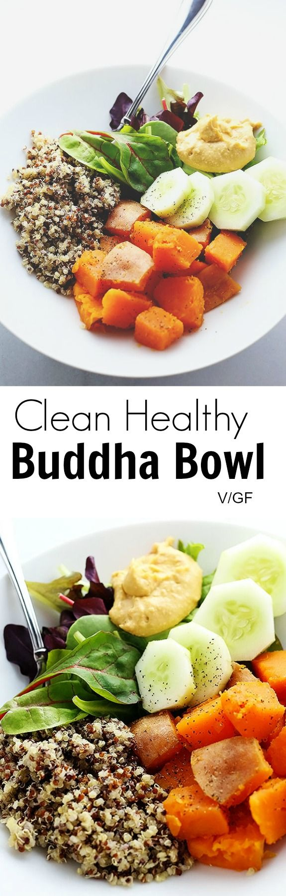 "Clean Healthy Buddha Bowl - I'm getting SUPER ""CLEAN EATING"" on ya'll! If you appreciate food simple and clean then this recipe is for YOU! ;-) Vegan and Gluten Free! / TwoRaspberries.com"