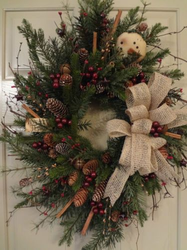 Primitive~Winter~Thyme~Christmas~Holiday~Snowman~Bells~Stars~Floral~Wreath: