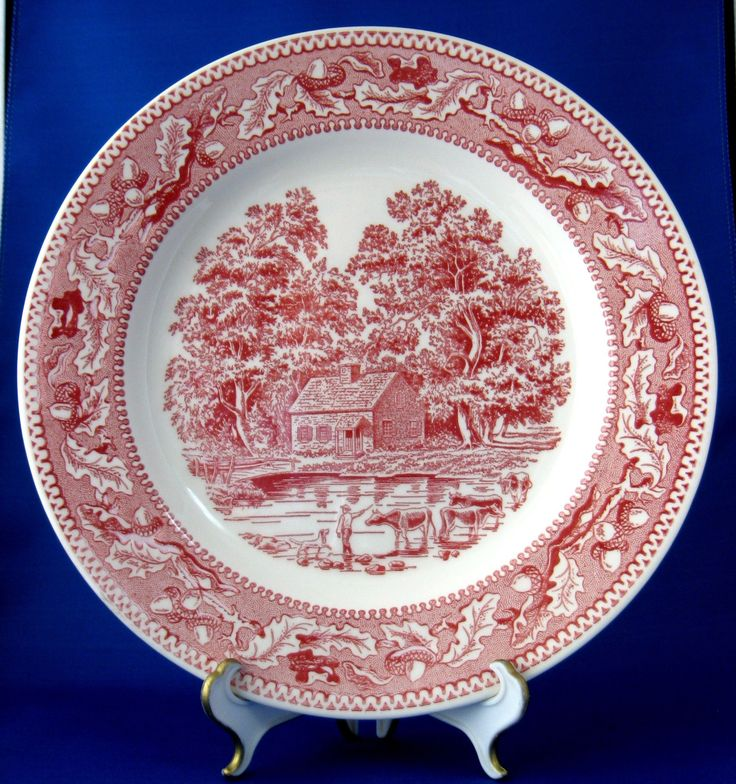 Red Transferware Plate Memory Lane Pink Dinner Plate Royal China USA 1960s