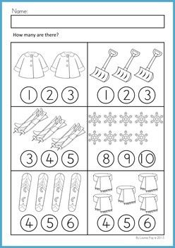 Math Worksheets & Activities - Winter (Beginning Skills). 43 pages. A page from the unit: Counting worksheet