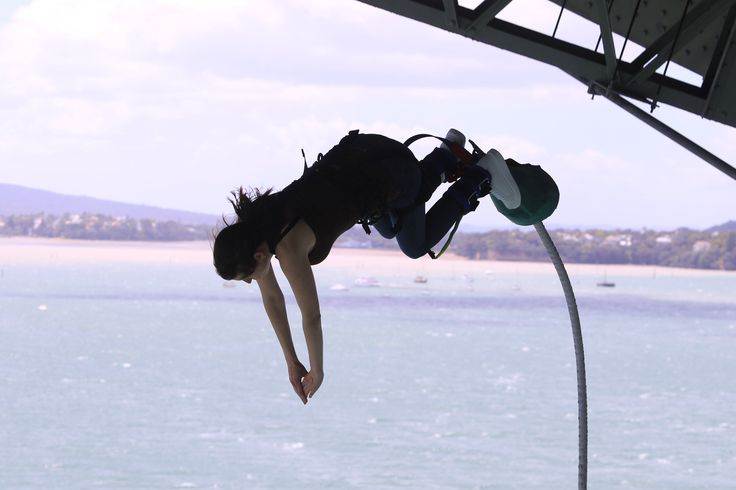 Me mid-jump, doing AJ Hacketts bungee from the Auckland Harbour Bridge. There's nothing more Kiwi you can do on your visit to New Zealand.
