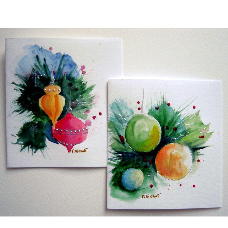 Cartes aquarelle de Noël et Voeux