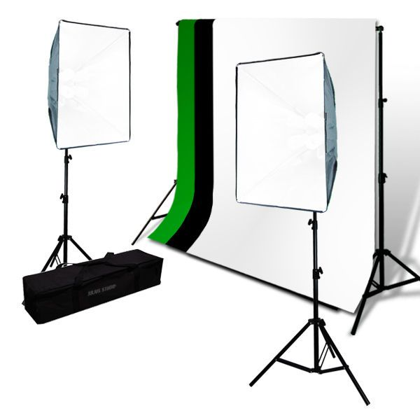 Chroma Key Screen Green and Black White Muslin Backdrop SoftBox Photo Lights Kit  sc 1 st  Pinterest : chroma key lighting kit - azcodes.com