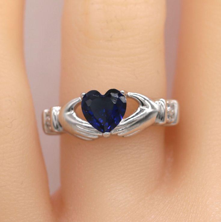 Blue Claddagh Ring/ 925 Sterling Silver Claddagh Ring #116