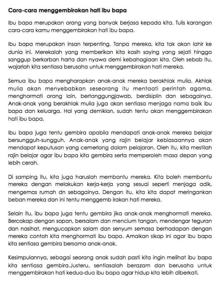 11 Contoh Karangan Upsr Terbaik Bahasa Melayu Language Worksheets Malay Language Learn English Vocabulary