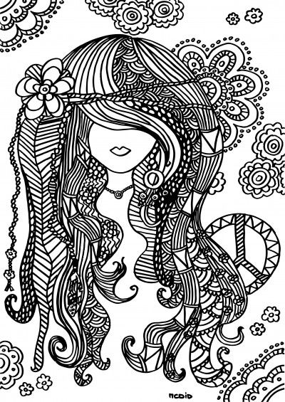 Free printable adult coloring page. Female girl doodles. Woodstock. Gratis kleurplaat voor volwassenen.