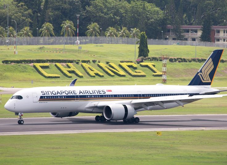 Singapore Airlines Airbus A350-941XWB during landing rollout at Singapore-Changi International Airport