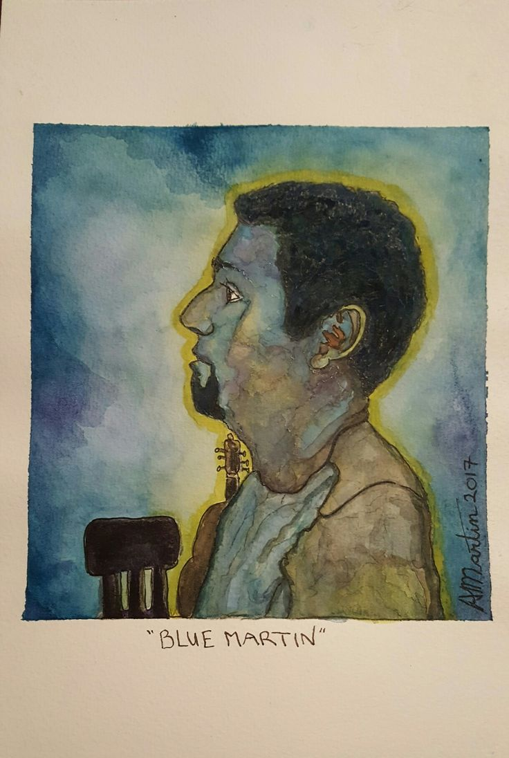 My Husband, Shawn, Inspired by Picasso Blue Period. Painting done with watercolour, inktense and ink on watercolour paper.