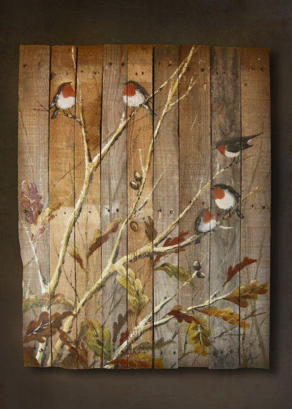 PINTURA original de pájaros realizada sobre LIENZO de MADERA de palet reciclada, todo hecho a mano.