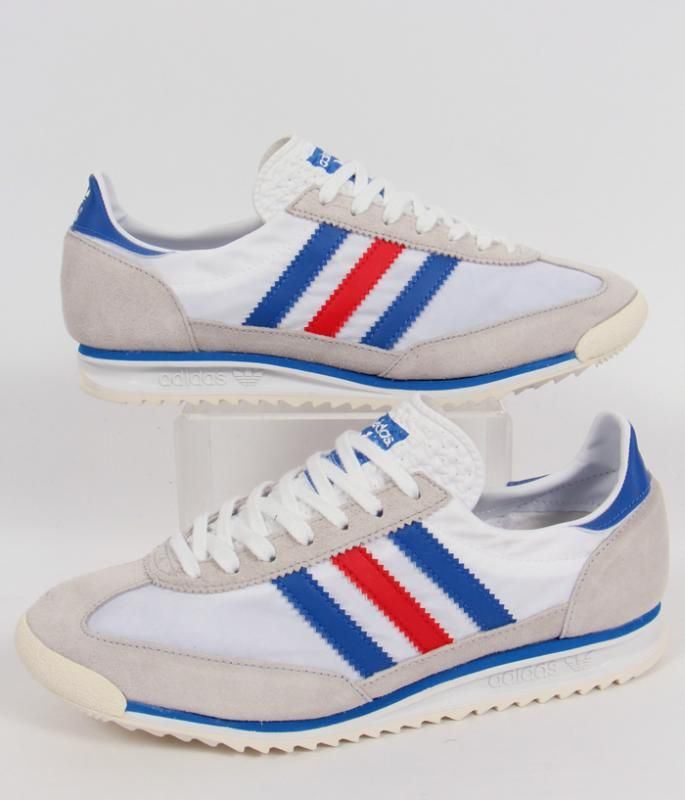 Adidas SL 72 Trainers in White/Blue/Red,adidas SL72 running shoes,