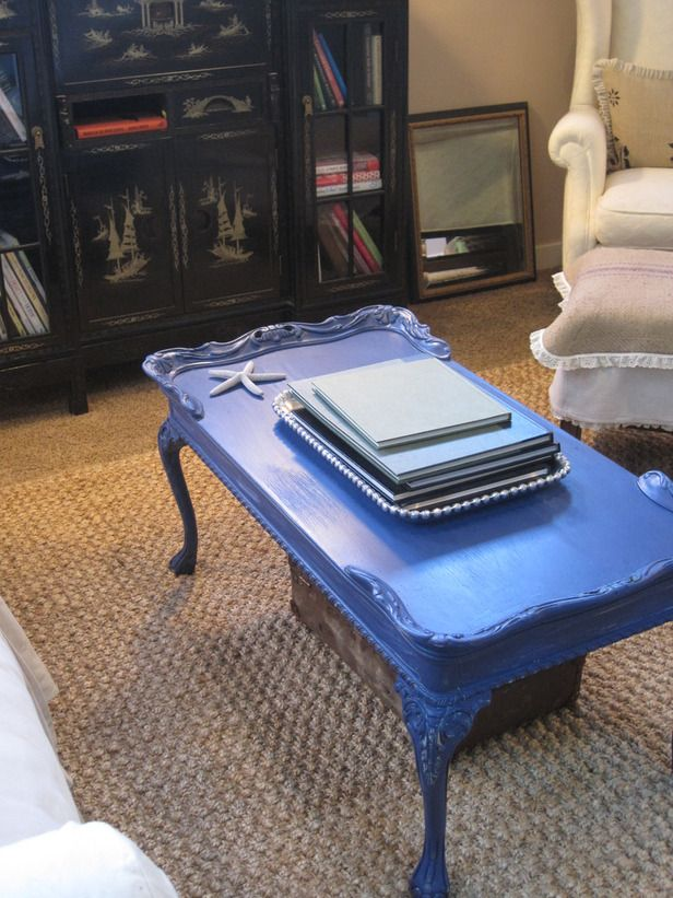 Paint an old coffee table a bright, bold color. Repurposed furniture ideas --> http://www.hgtv.com/decorating-basics/12-ways-to-repurpose-home-furnishings/pictures/page-10.html?soc=pinterest