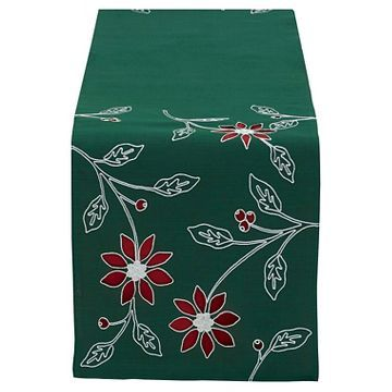 "Green Poinsettia Embroidered Table Runner Red (14""X70"
