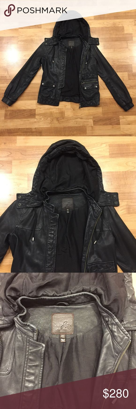Joie Washed Lambskin Leather Jacket Excellent condition, removable hood, fully lined, soft lambskin leather with front pockets and zip closure. No trades, thank you. Joie Jackets & Coats