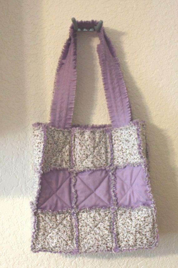 Lavender Flower Rag Quilt Purse by stitchinfam on Etsy, $15.00