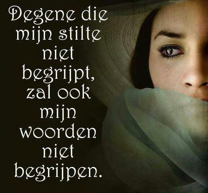 Degene die mijn stilte niet begrijpt,  zal ook mijn woorden niet begrijpen.