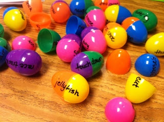 Make compounded words with your kids using easter eggs. Repinned by playwithjoy.com. For more educational pins visit pinterest.com/playwithjoy.  This activity could be used with so many things, matching upper and lower case letters, numbers with the correct number of dots, the name of a color matched to the correct color, opposites, etc.  I love it!