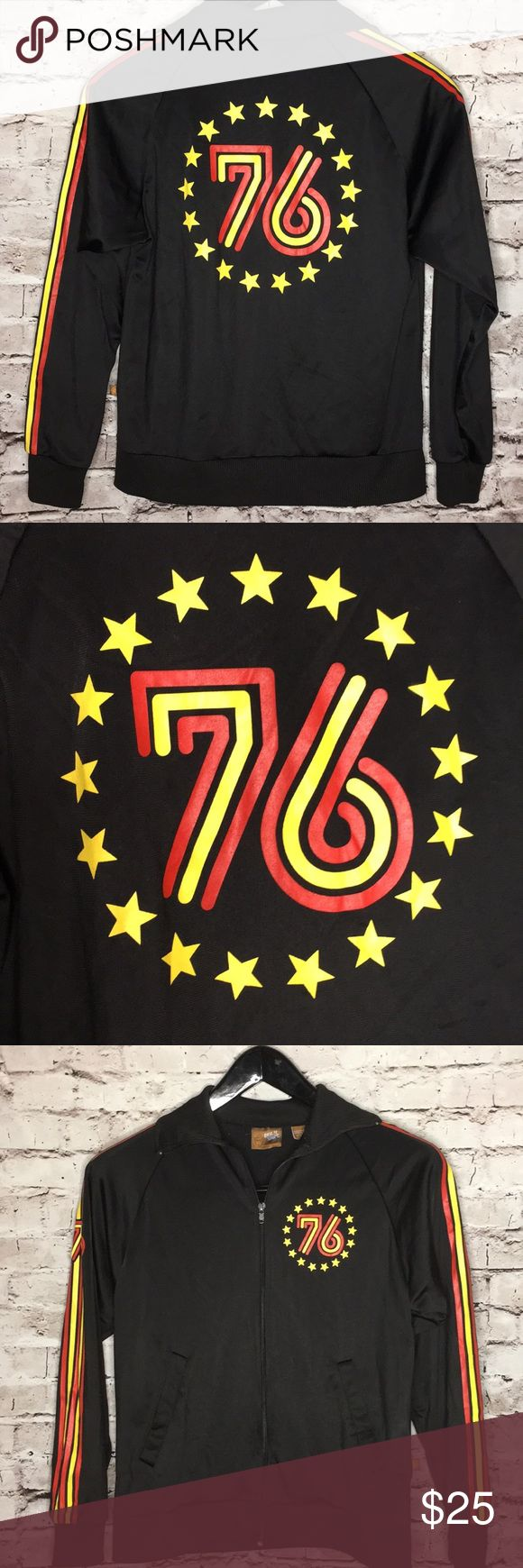 """Spirit of 76 striped zip up windbreaker XS super cool vintage inspired zip up - two pockets and rad vintage inspired stripes up both sleeves and 76 surrounded by stars in the back. same image on upper left part of chest in front. size xs   underarm to underarm: 18: shoulder to hem: 22.5""""  very good used condition ugly shirt Jackets & Coats"""