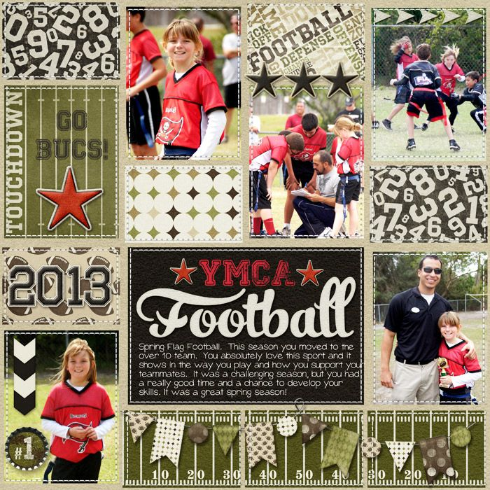 digital scrapbook layout, project life, flag football, girls sports, tween, 2013, YMCA, numbers, stars