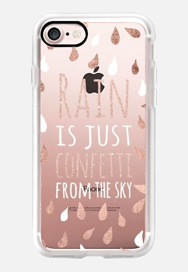 Casetify iPhone 7 Classic Grip Case - Modern rain is just confetti from the sky quote rose gold white typography drops by Girly Trend by Girly Trend #Casetify