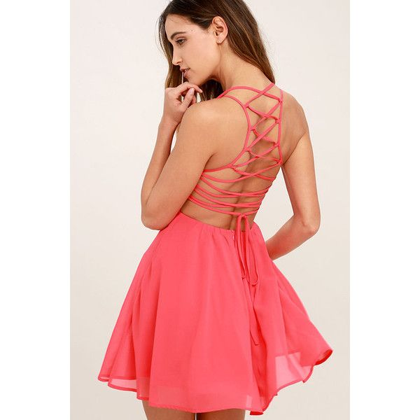 Good Deeds Coral Pink Lace-Up Dress ($44) ❤ liked on Polyvore featuring dresses, pink, skater skirt, red skater skirt, lulu's dresses, red circle skirt and coral red dress