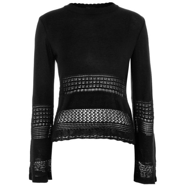 TopShop Scallop Hem Sweater ($50) ❤ liked on Polyvore featuring tops, sweaters, black, topshop sweater, acrylic sweater, topshop tops, scalloped tops and scallop edge top