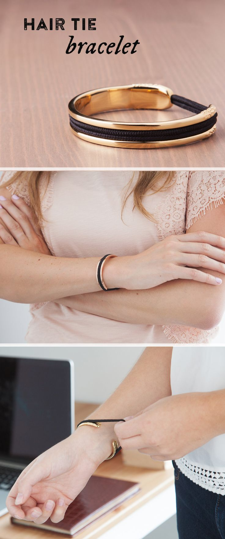 I NEED THIS. Carry a hair elastic on your wrist in a way that's elegant AND keeps your wrist indent-free.