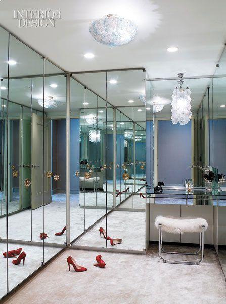 Mirrored dressing room #wardrobes #closet #armoire storage, hardware, accessories for wardrobes, dressing room, vanity, wardrobe design, sliding doors,  walk-in wardrobes.