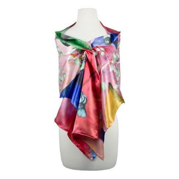 Modern Abstract Silk Scarf with geometric & organic shapes silk screened by hand #Rosberg #Scarf