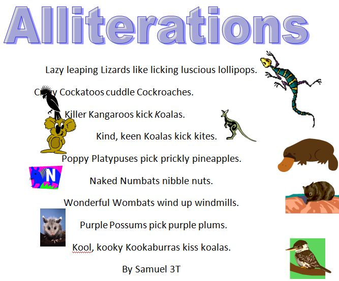 Australian Animals Alliteration Poems » Samuel