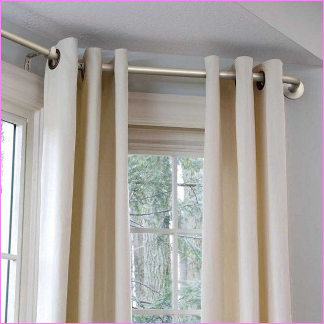 Diy Bay Window Curtain Rod Bay Window Curtain Pole Home Curtain