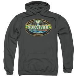 SURVIVOR/HEROES VS VILLAINS-ADULT PULL-OVER HOODIE-CHARCOAL-XL