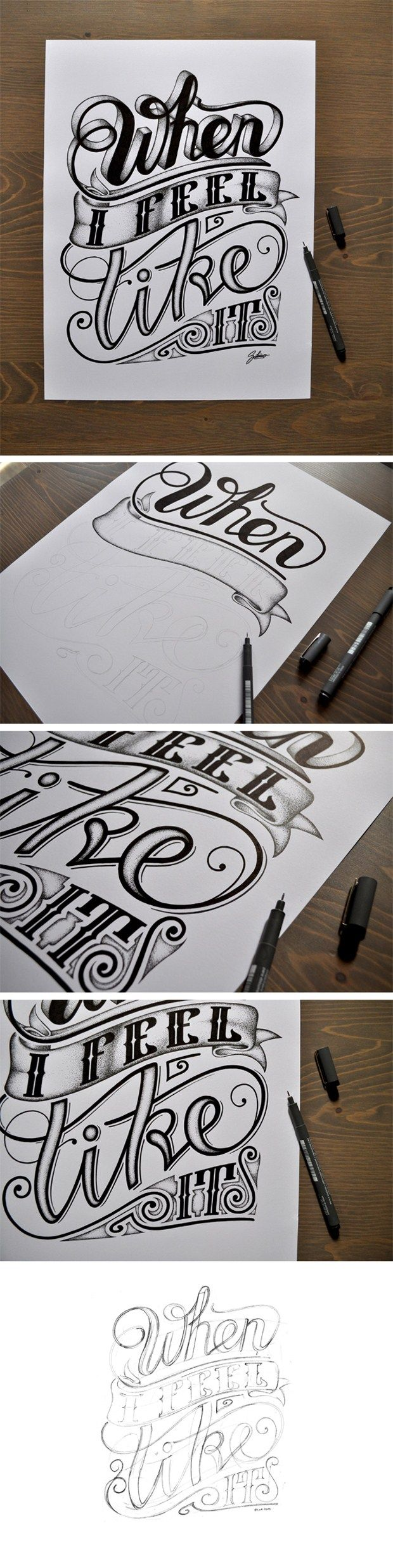 Steps of Hand lettering & inking. When I feel like it, Typography Design for Your Inspiration