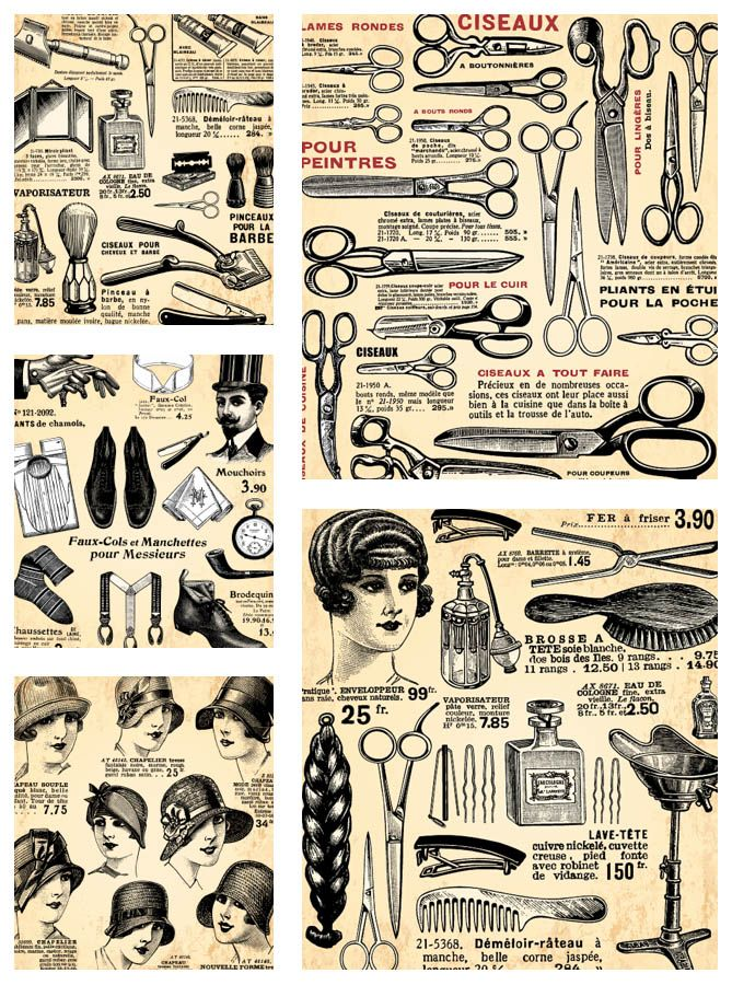 "Set name: ""Vintage hairdresser design elements"" for Adobe Illustrator."