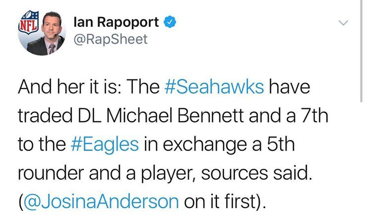 Per Josina Anderson: Seahawks are trading DE Michael Bennett and a seventh-round pick to Eagles for a fifth-round pick and WR Marcus Johnson sources tell ESPN. #nfl #nfltalk #nflnews #nflmemes #eagles #seahawks #flyeaglesfly #philly #seattle #philadelphiaeagles #philadelphia #news #birdgang #espn #pennsylvania #washingtonstate #washington #pa #wa #trade #trades #football #nfc #east #west #ball