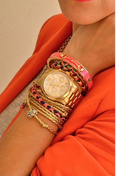gold with pink and orange: Arm Candy, Arm Party, Color Combos, Stacking Bracelets, Armcandi, Wrist Candy, Michael Kors Watches, Gold Watches, Accessories