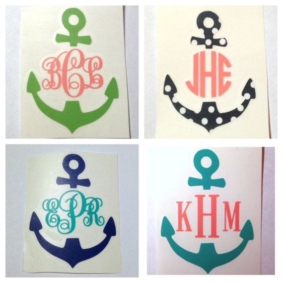2 in Monogrammed Anchor Decal for Cell by MeowMeowHouseDesigns, $5.00