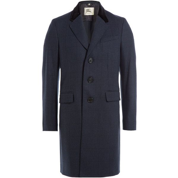 Burberry London Virgin Wool Coat (915.170 CLP) ❤ liked on Polyvore featuring men's fashion, men's clothing, men's outerwear, men's coats, blue, mens fur collar coat, burberry mens coat, mens slim fit coat and mens blue trench coat
