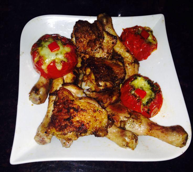 mixed spice and garlic herb roast chicken