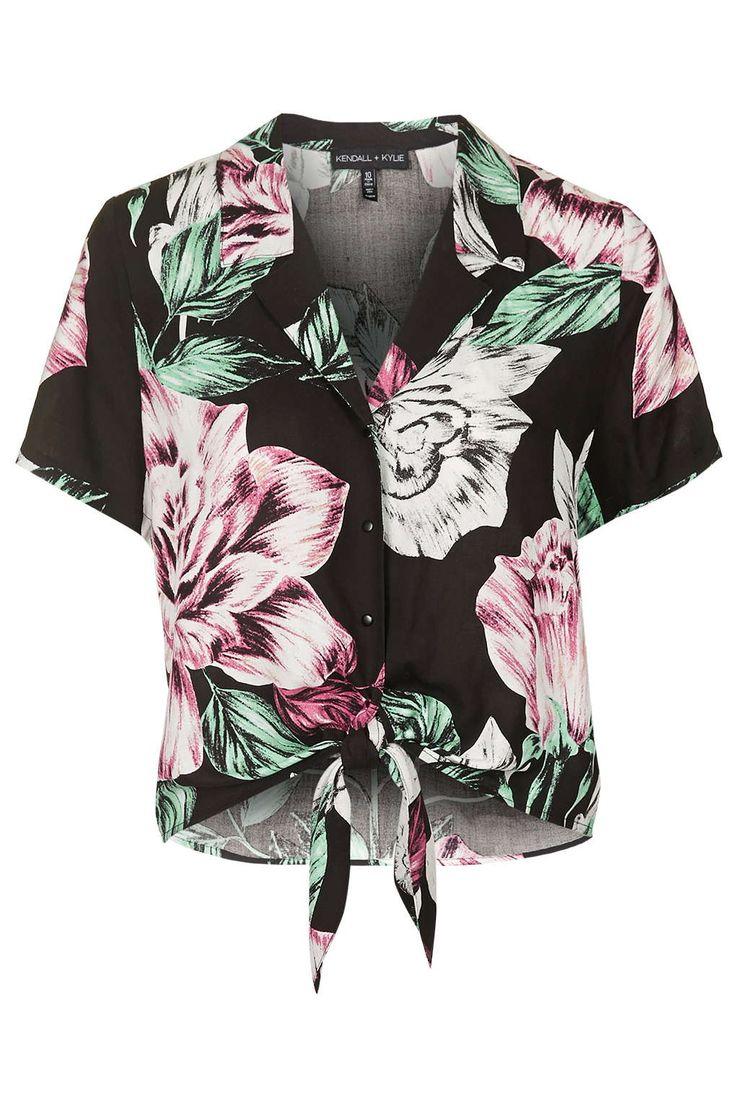 Photo 1 of Floral Print Hawaiian Shirt By Kendall + Kylie at Topshop