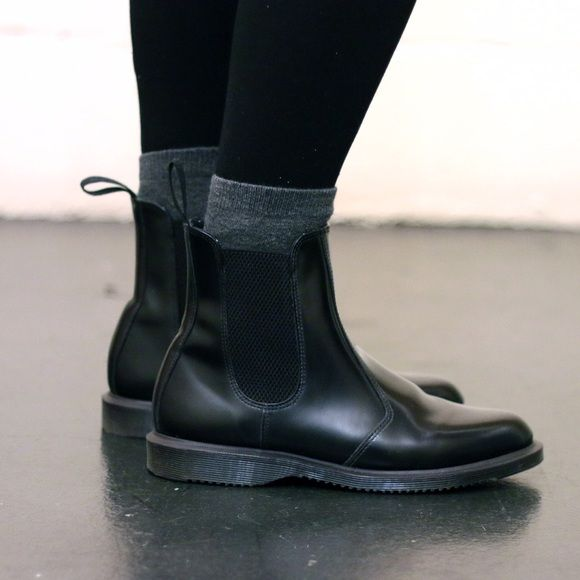 Dr. Martens Shoes - Dr. Martens Flora Chelsea Boots with socks and leggings