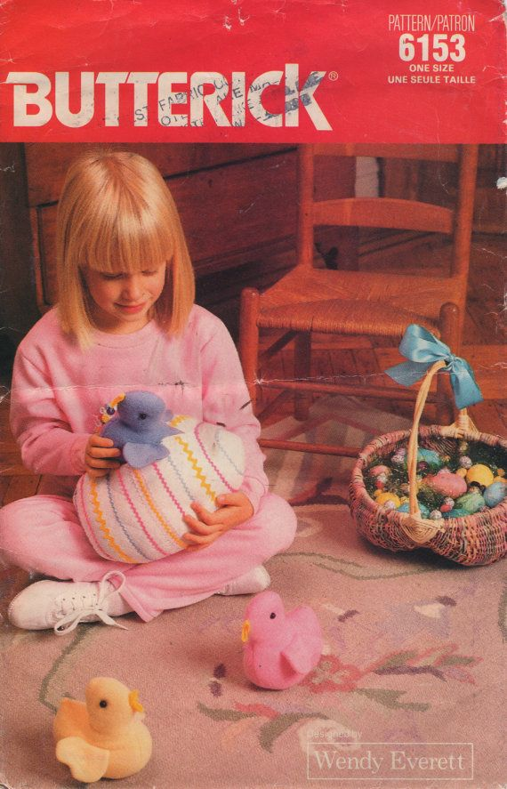 Butterick 6153 1980s Zip Open Easter Egg Chick Bunny