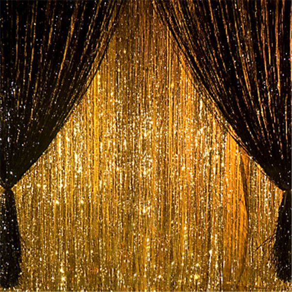 Hot 3ft*8ft Metallic Shiny Tinsel Curtain Birthday Party Supplies Wedding Decorations Stage Backdrop