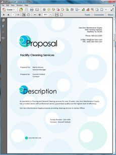 Janitorial Services Sample Proposal - The Janitorial Services sample proposal is from a cleaning firm pitching their services to another business. Create your own custom proposal using the full version of this completed sample as a guide with any Proposal Pack. Hundreds of visual designs to pick from or brand with your own logo and colors. Available only from ProposalKit.com (come over, see this sample and Like our Facebook page to get a 20% discount)