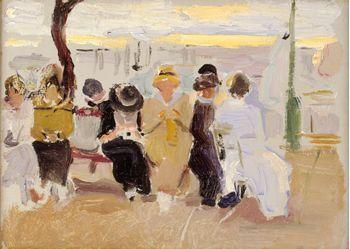 Joaquín Sorolla Bastida (1863-1923). Señoras sentadas en un banco del Paseo de la Concha. 1917. Óleo sobre cartón. Colección Bancaja, Spain.